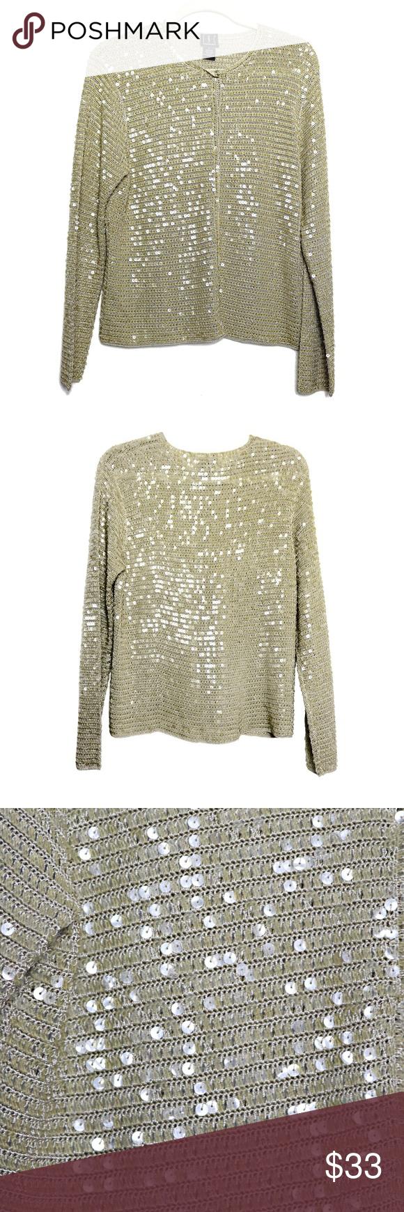 Metallic Sparkle Sequined Cardigan Light Gold