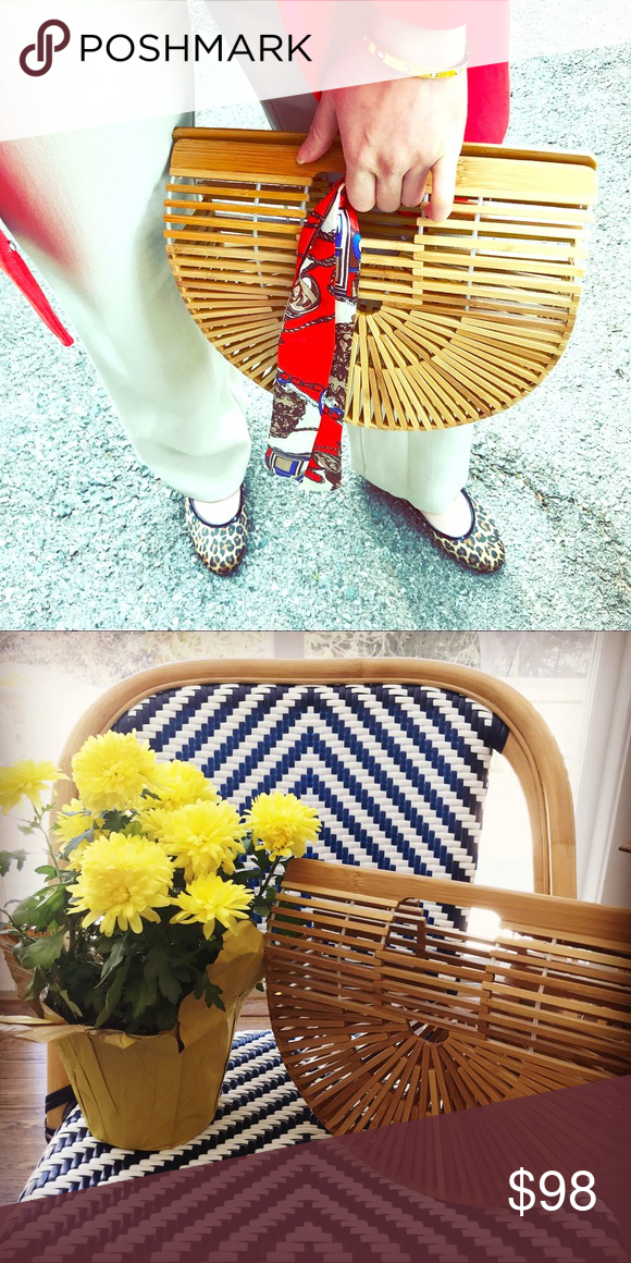 c49ce1d861 Iconic bamboo basket bag Comes with a removeable twilly scarf tie Cayucos  Design Bags