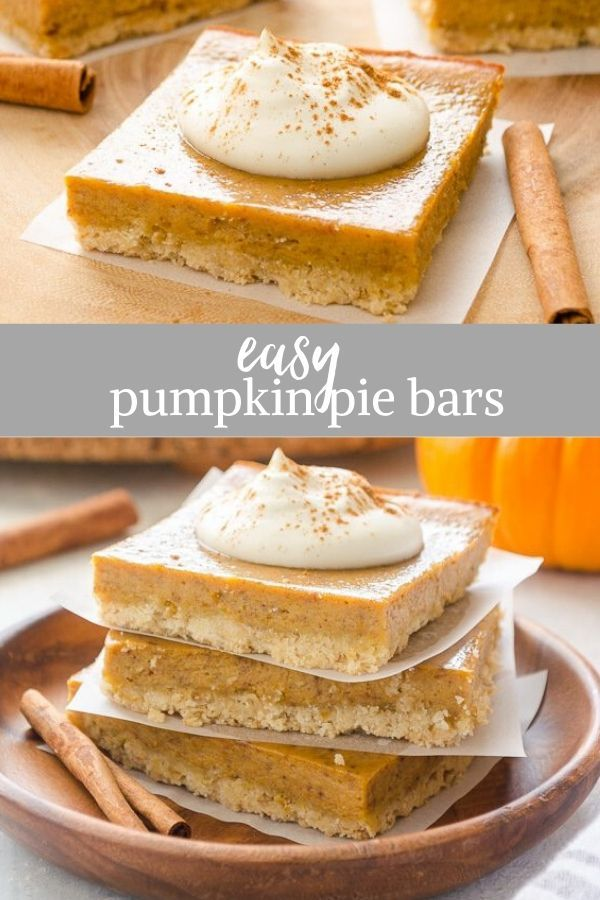Easy Pumpkin Pie Bars with Oat Crust - Flavor the Moments