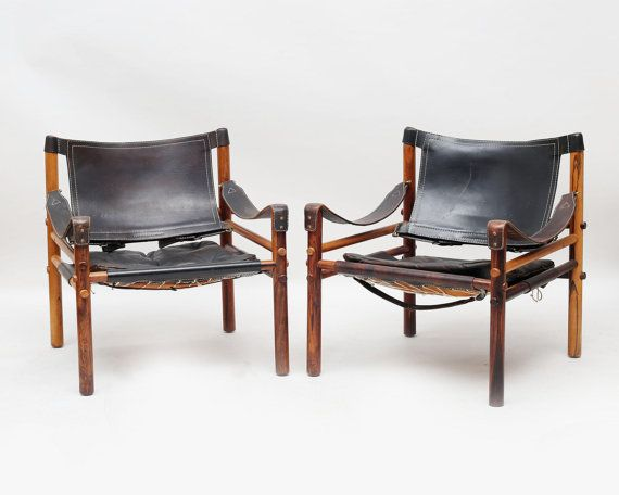 A Rare Pair Of Authentic Arne Norell Safari Chairs In Black Leather And  Rosewood. **ships To Your Doorstep In The US In A Week** These Chairs Look  Stunning ...