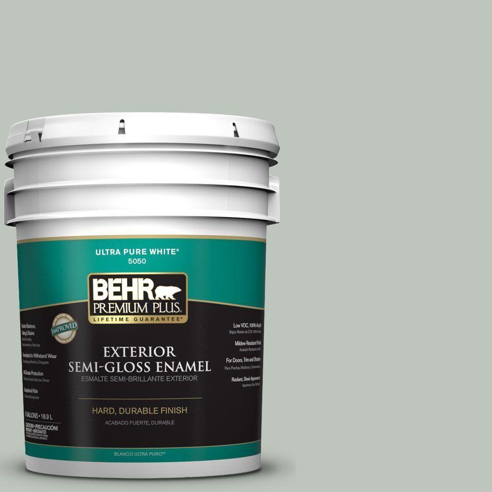 BEHR Premium Plus 5-gal. #N410-3 Riverdale Semi-Gloss Enamel Exterior Paint