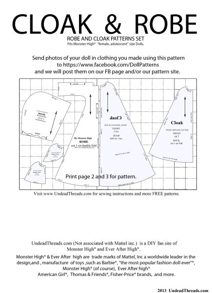 Monster high dolls Cloak & Robe sewing pattern.   Ever After High ...