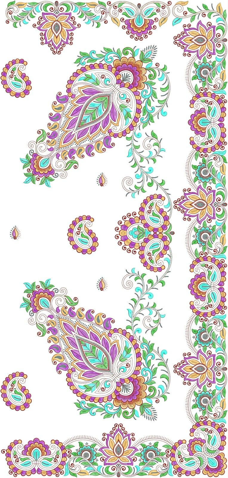 paisley formed Patched C-pallu. | paintingsbb | Pinterest | Diseños ...