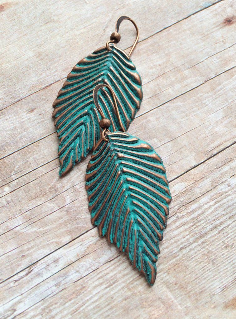 e490e813b870 Patina Copper Leaf Earrings