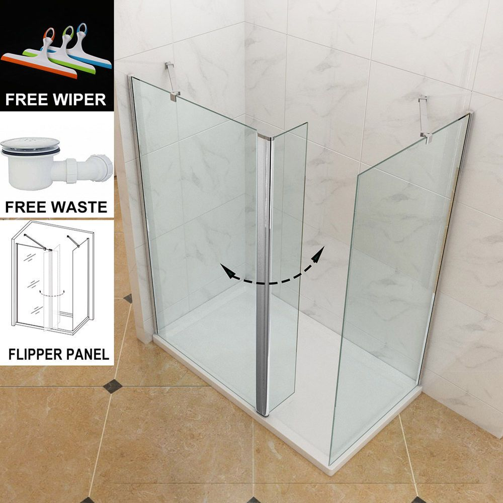 Walk in Wet Room Shower Enclosure Glass Screen Cubicle Side Panel Stone  Tray in Home, Furniture & DIY, Bath, Shower Enclosures