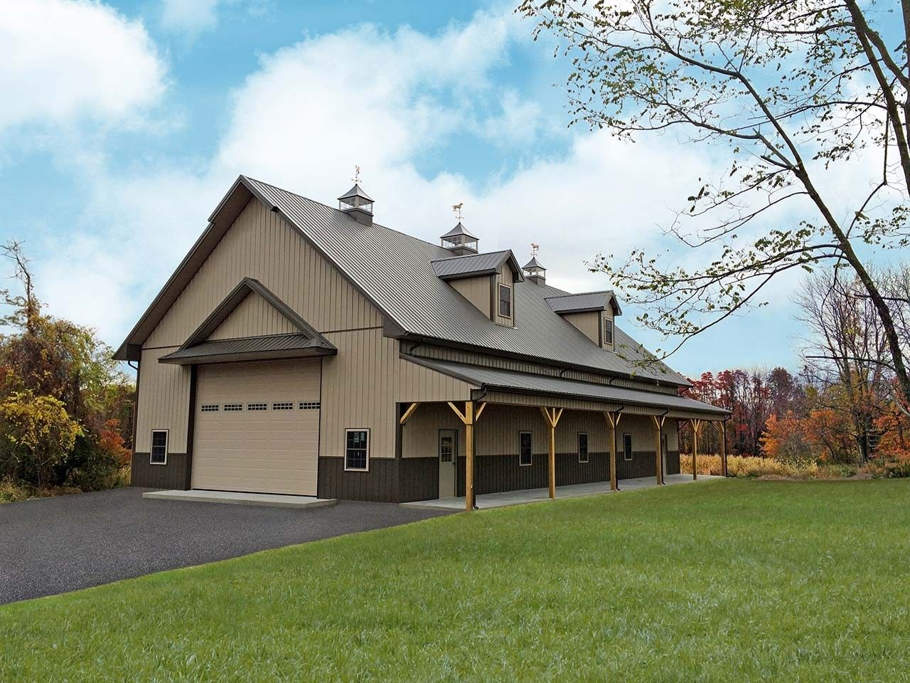 Residential pole building tri state buildings pa nj for Pole barn home plans with garage