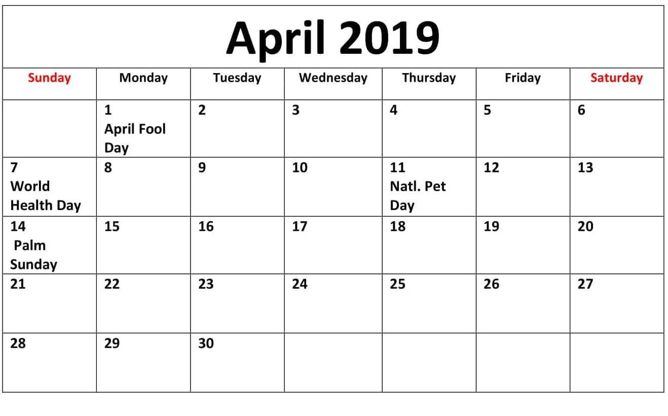 April 2019 Calendar Canada With Bank, Public, Federal ...