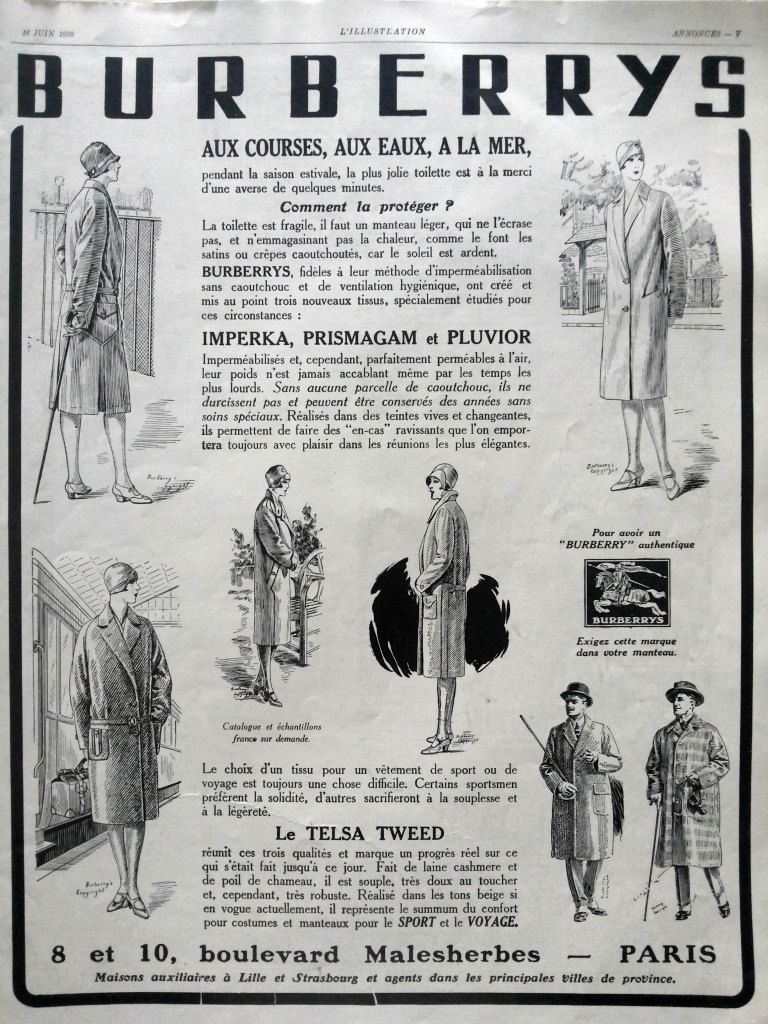 BURBERRY vintage ad, fashion advertisement, French magazine ad ...