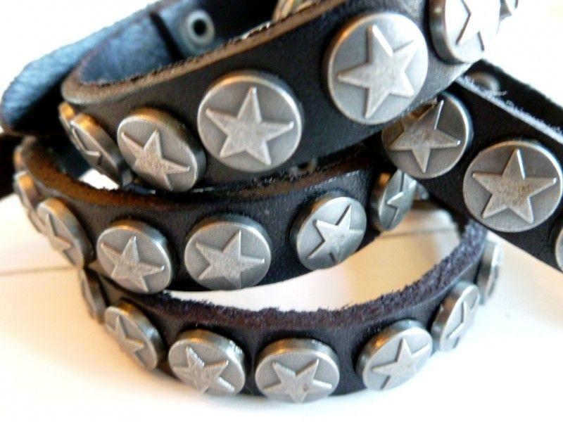 Leren armband met sterren