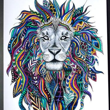 Colorful Lion Head Tattoo Design Lion Head Tattoos Lion Painting Tribal Lion