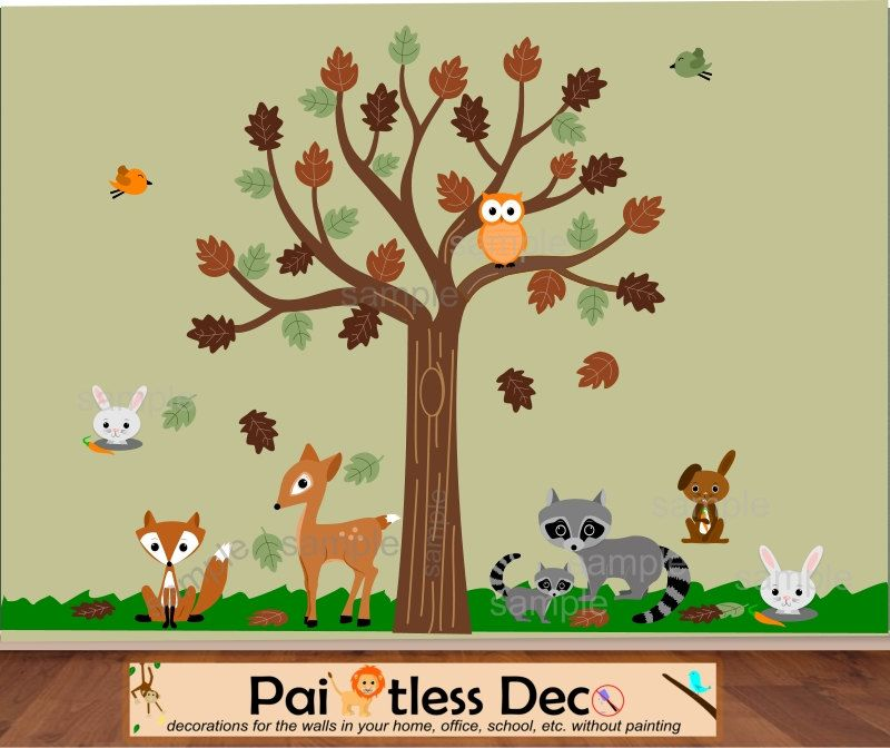 Reuseable Woodland Forest Animals Friends Wall Decal Sticker - Nursery wall decals animals