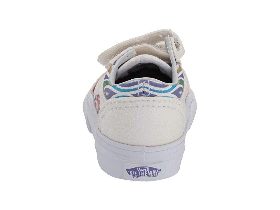 Vans Kids Old Skool V (Infant Toddler) Girls Shoes (Sparkle Flame) Rainbow True  White 5797f655c