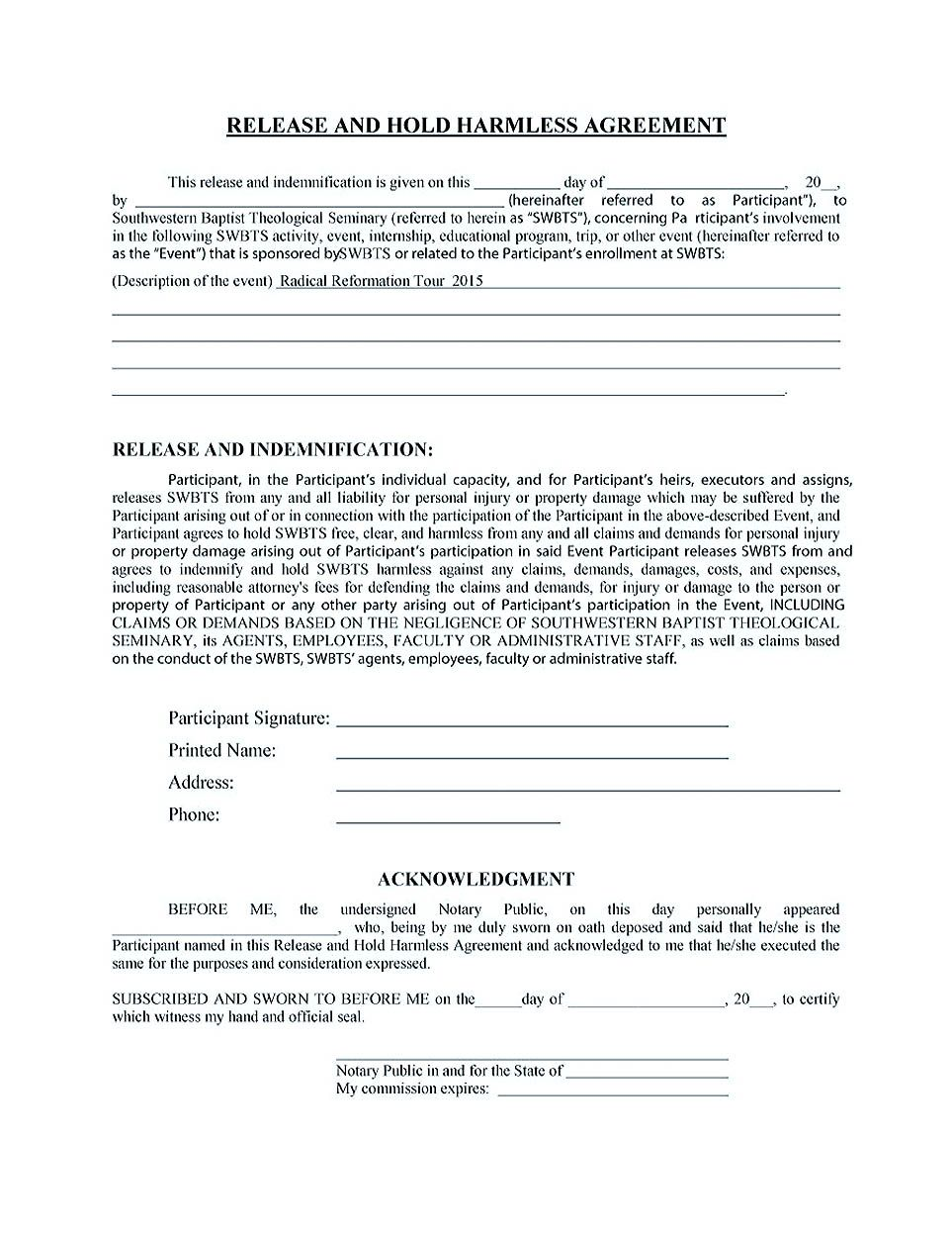 Hold Harmless Agreement Pdf  Making Hold Harmless Agreement
