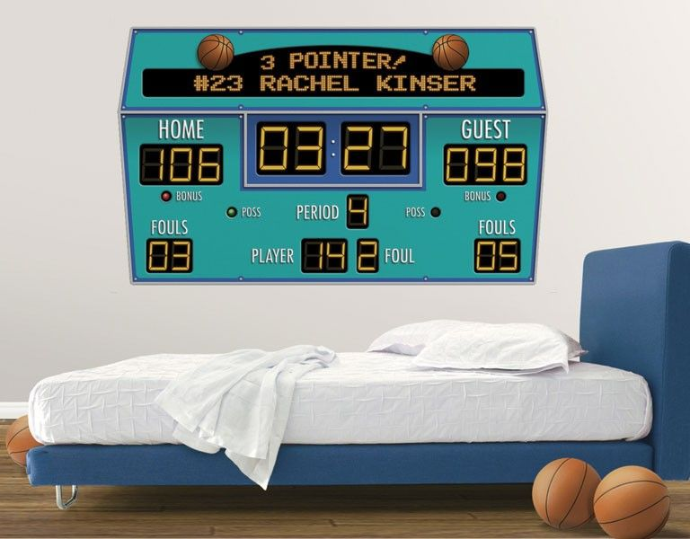 Basketball Scoreboard Peel And Stick Wall Mural   Multiple Color Choices Images