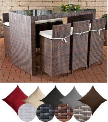 Poly-Rattan Garten-Bar Set LENOX, Farbe wählbar, 6 Barhocker + 6
