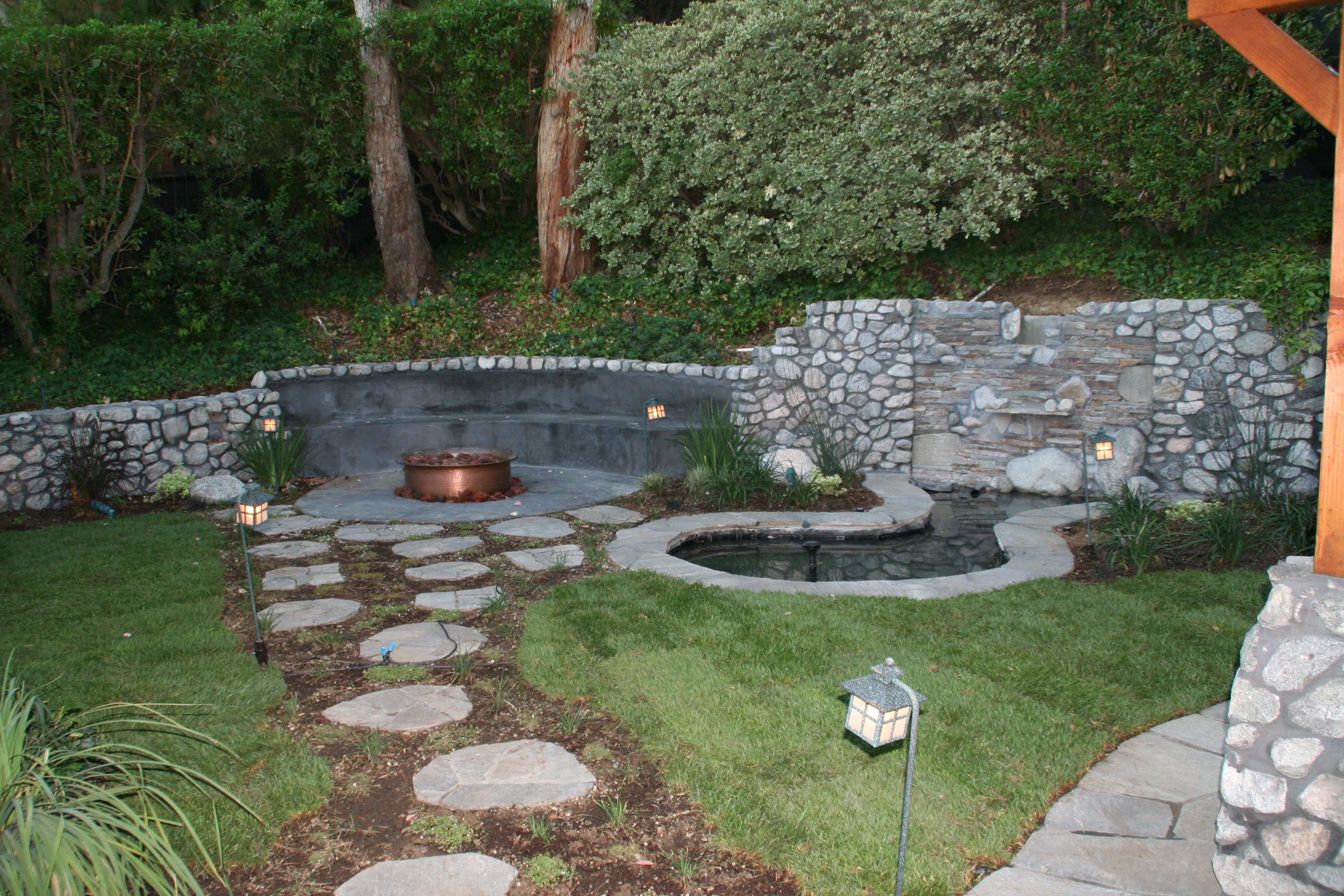 Love This Small Backyard Design Copper Fire Pit Pond With Waterfall Very Peaceful Waterfall Landscaping Backyard Ponds Backyard