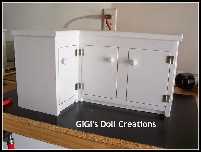 American Girl Doll Kitchen and Custom Cabinet Tutorial (GiGi's Doll and Craft Creations) #americangirldollcrafts