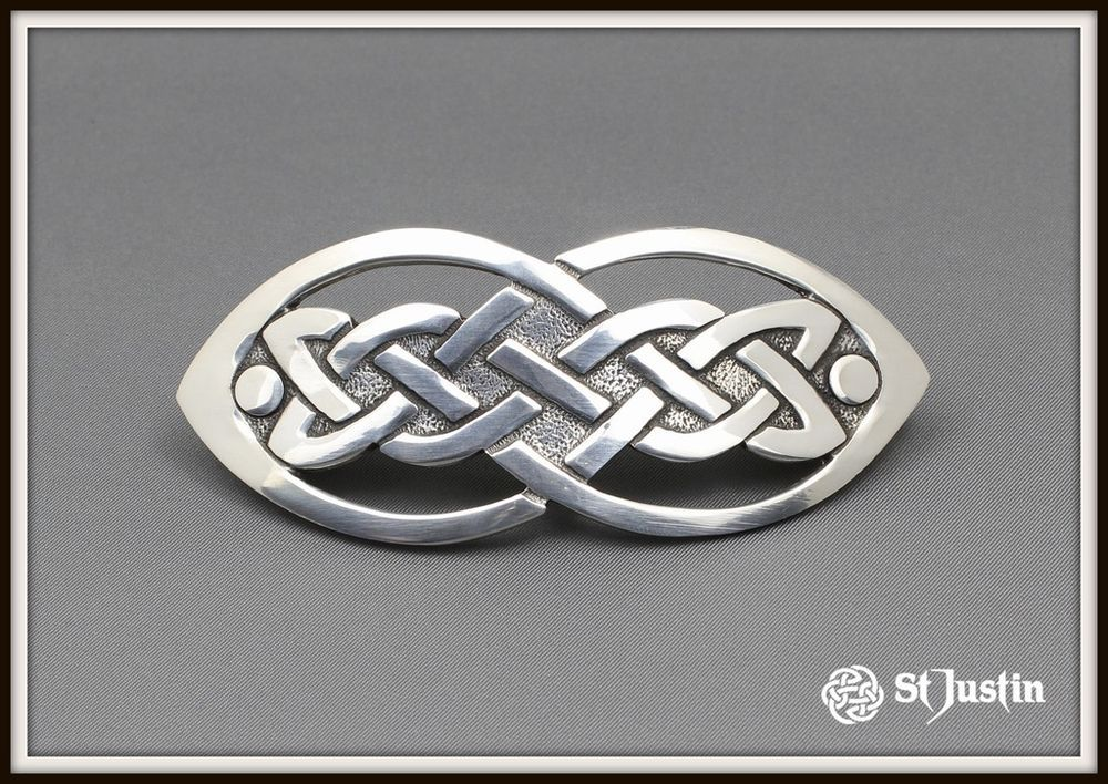 Celtic open knot hair slide ~ pewter ~ from st. justin ~ free p&p ...