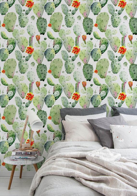 Selfadhesive Removable Wallpaper, Cactus Wallpaper, Peel