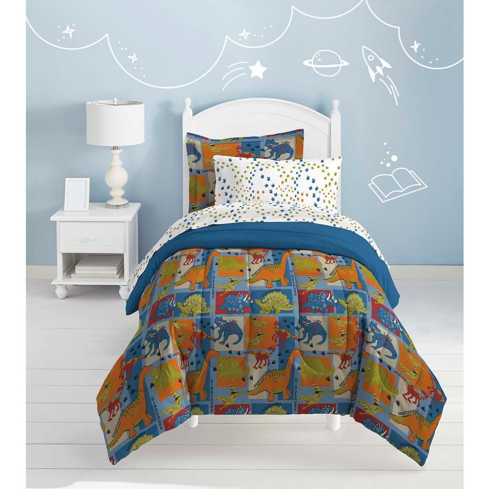 2 Piece Kids Boys Blue Green Dinosaur Themed Comforter Set Twin Brontosaurus