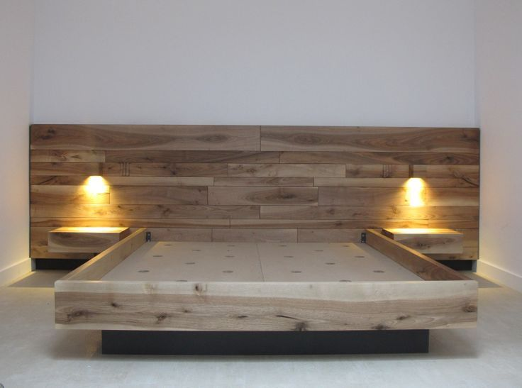 Cama y cabezal elaborados en madera maciza de nogal for Cama queen size con cajones