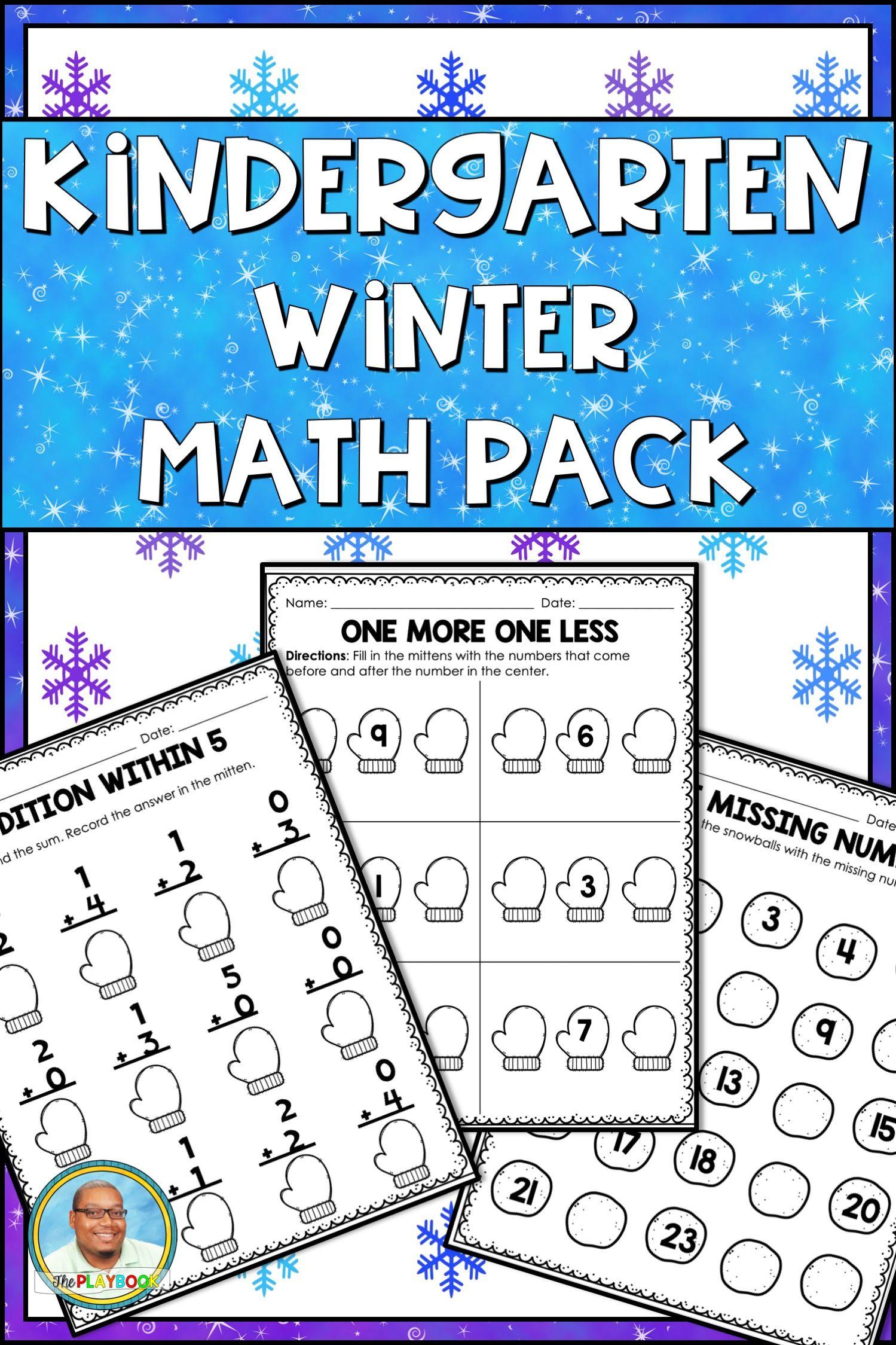 Kindergarten Winter Math Packet No Prep
