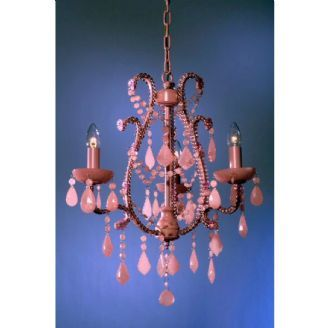 French Style Marie Therese Pink 3 Arm Chandelier
