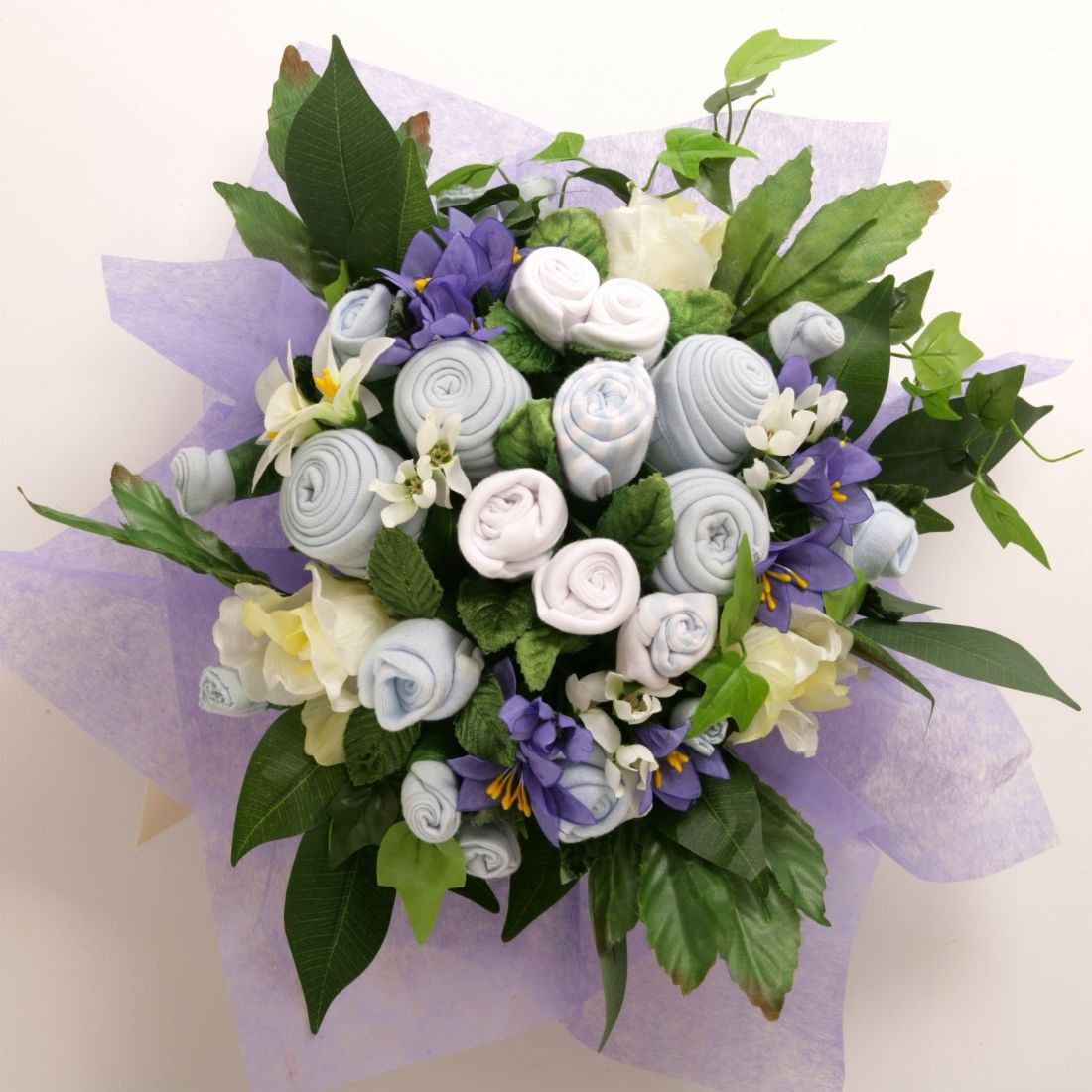 Baby clothes bouquet a flower arrangement made from rolled up baby a refreshing and gorgeous alternative to baby flowers baby clothes bouquets or baby grow bouquets last a lot longer and offer practicality as well as izmirmasajfo