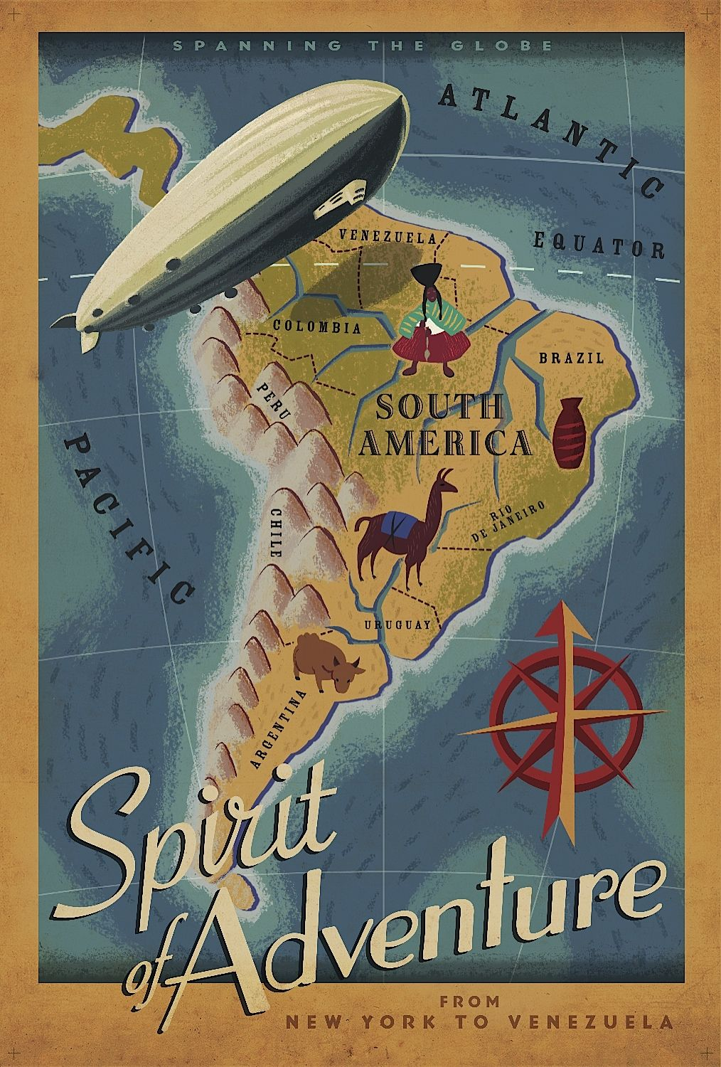 Sudamrica cartel vintage de la peli up por paul conrad spirit of adventure travel poster map blimp exiting south america brand new will ship in a tube multiple item purchases are combined the next day and gumiabroncs Images
