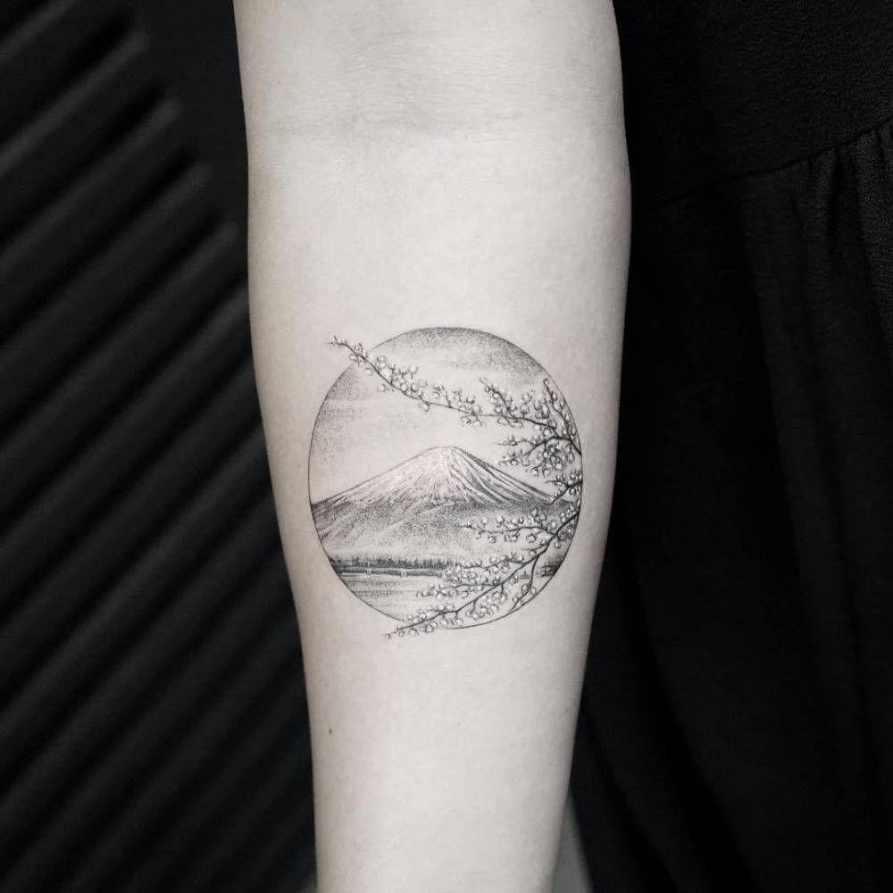 Single Needle Mount Fuji Tattoo On The Inner Forearm Small Tattoos Minimalist Tattoo Circle Tattoos