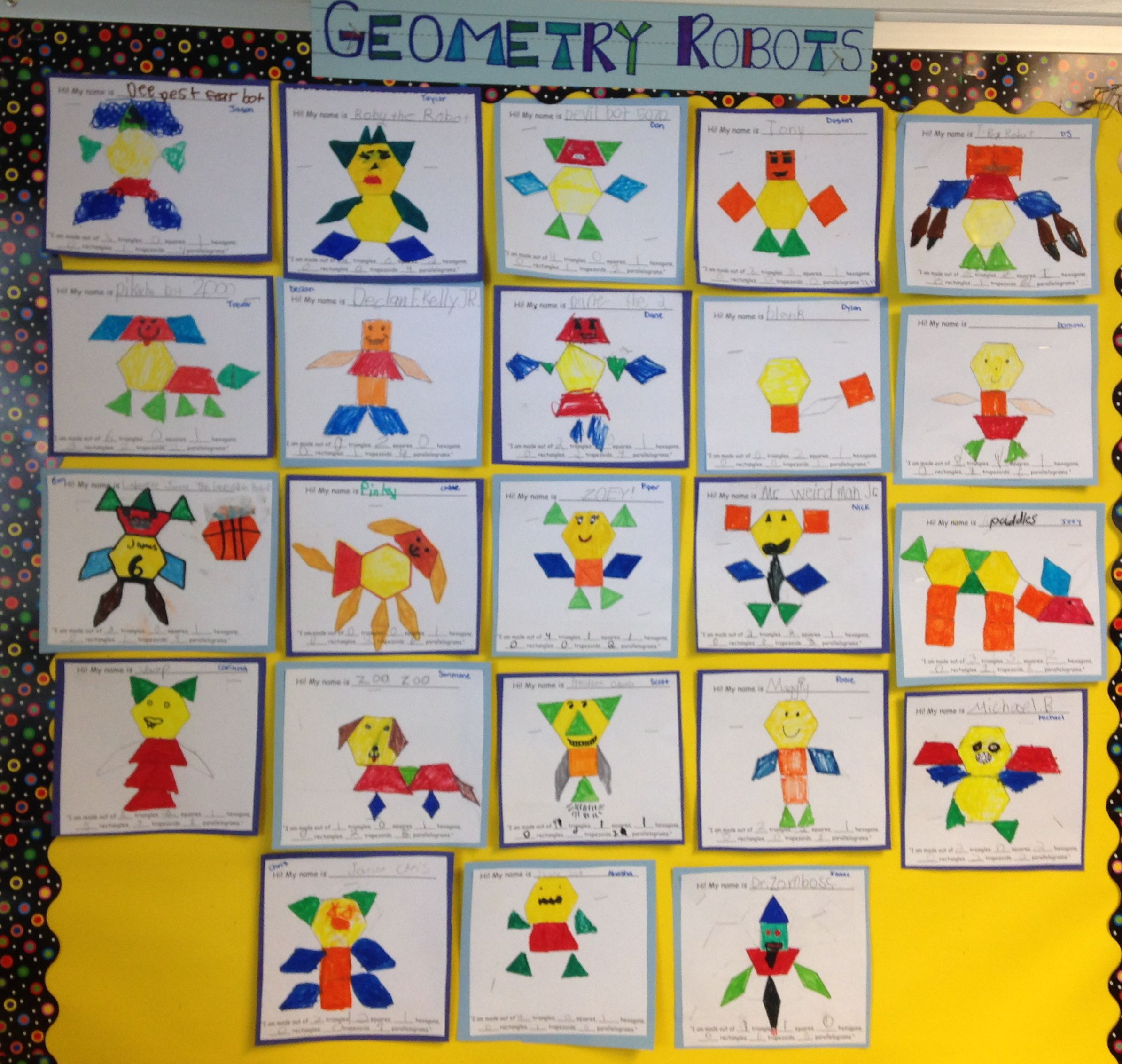 Geometry Robots With Pattern Blocks Have Students Create A Robot Color The Parts Of The Robot The Color Of Shapes Kindergarten Math Patterns Pattern Blocks [ 2263 x 2388 Pixel ]