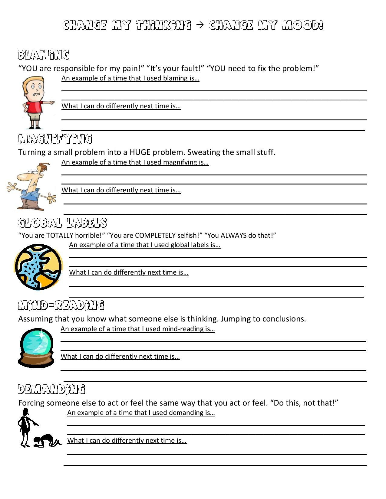 Worksheets For Therapy : Anger management worksheet mental health experiences