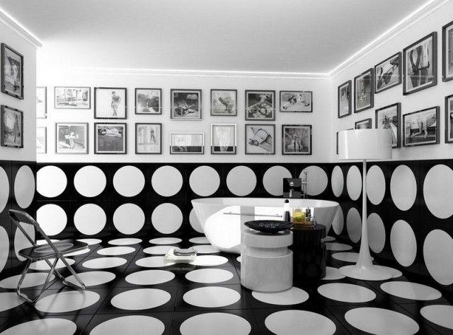 carrelage salle de bain noir et blanc - duo intemporel très classe - Image Salle De Bain Noir Et Blanc