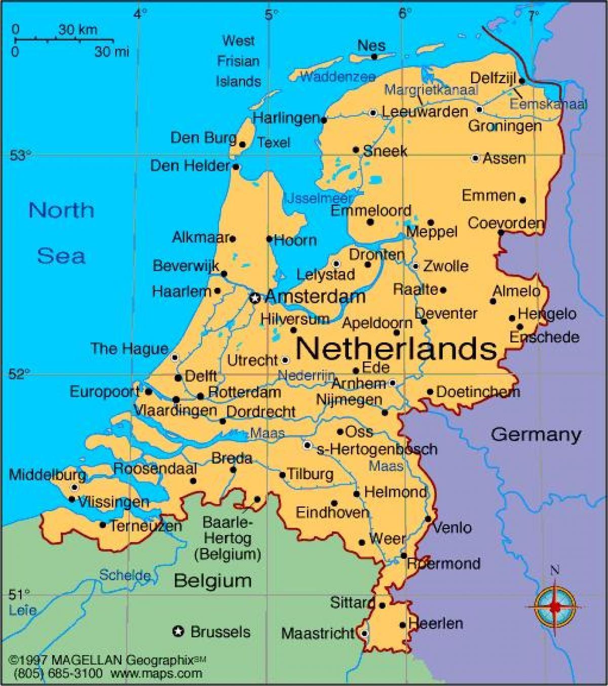 mapa da Holanda, com as cidades e vilas | Netherlands | Netherlands ...