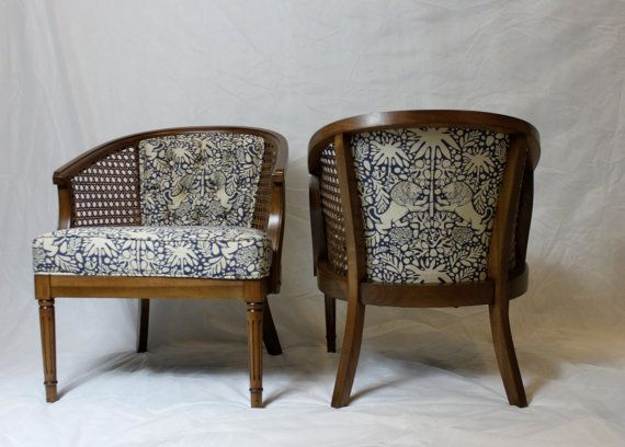 Sold Vintage Cane Barrel Chairs In Navy And White By Element20 Reupholster Chair Cane Chair Redo Barrel Chair