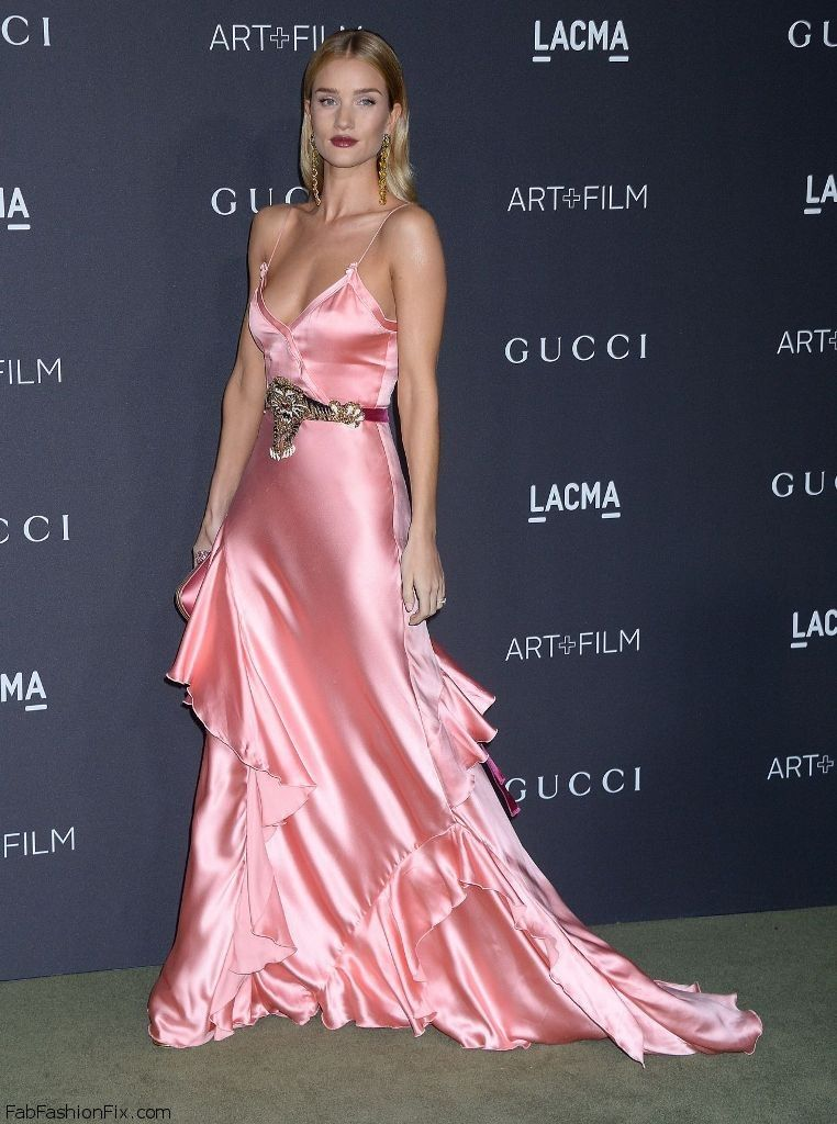 Rosie Huntington-Whiteley wearing Gucci pink satin gown at the 2016 ...