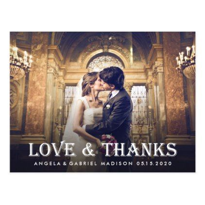 Elegant White Typography Wedding Thank You Photo Postcard
