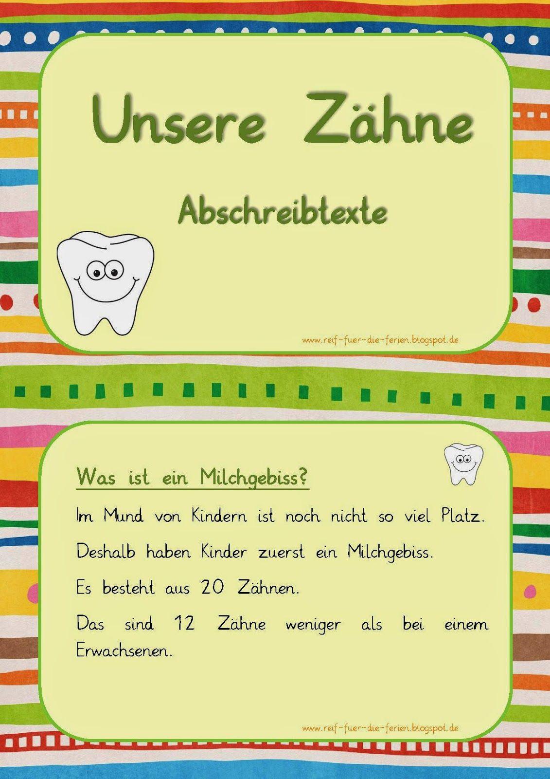Zähne - Abschreibtexte | kézműves | Pinterest | School, Deutsch and ...