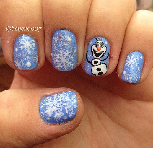 Cute Winter And Christmas Nail Ideas Frozen Olaf Art With Snowflakes Craftymorning