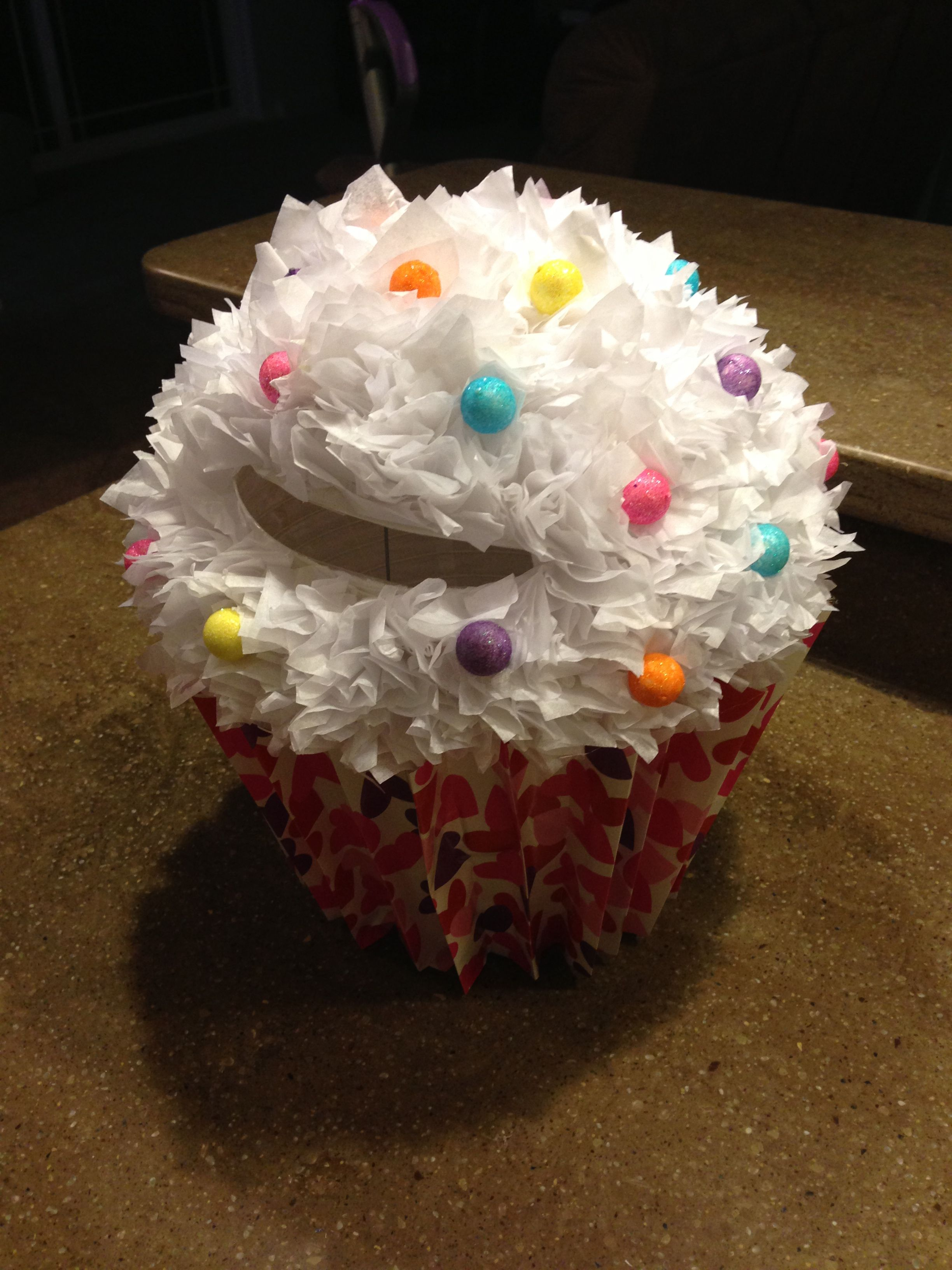 paiges cupcake valentine box plastic flower pot bottom covered with folded wrapping paper - Cupcake Valentine Box