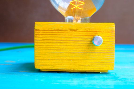 Yellow Vintage handmade wooden design table lamp by MooMaaHome