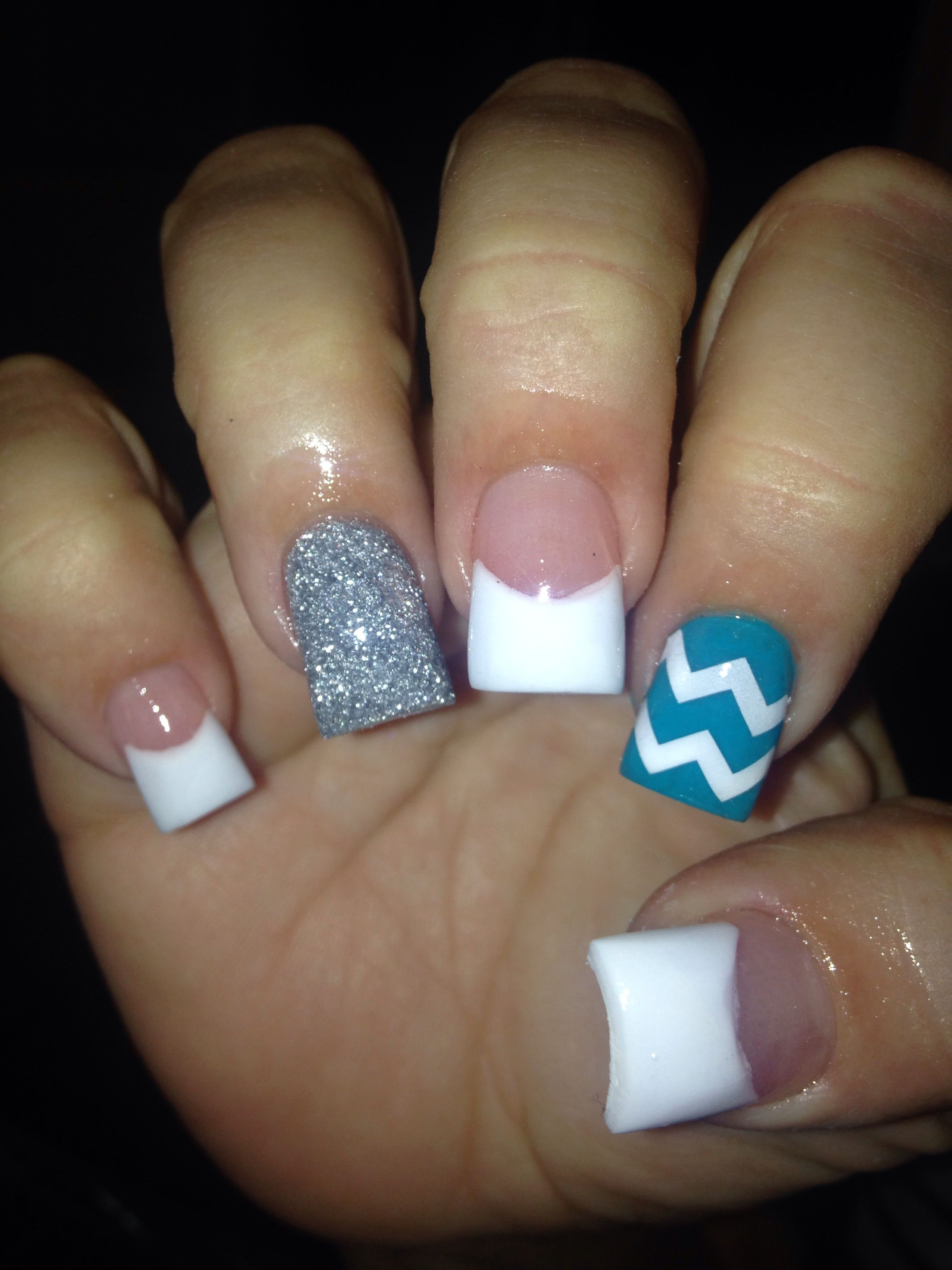 Blue Chevron Acrylic Acrylic Nails Pinterest Blue Chevron