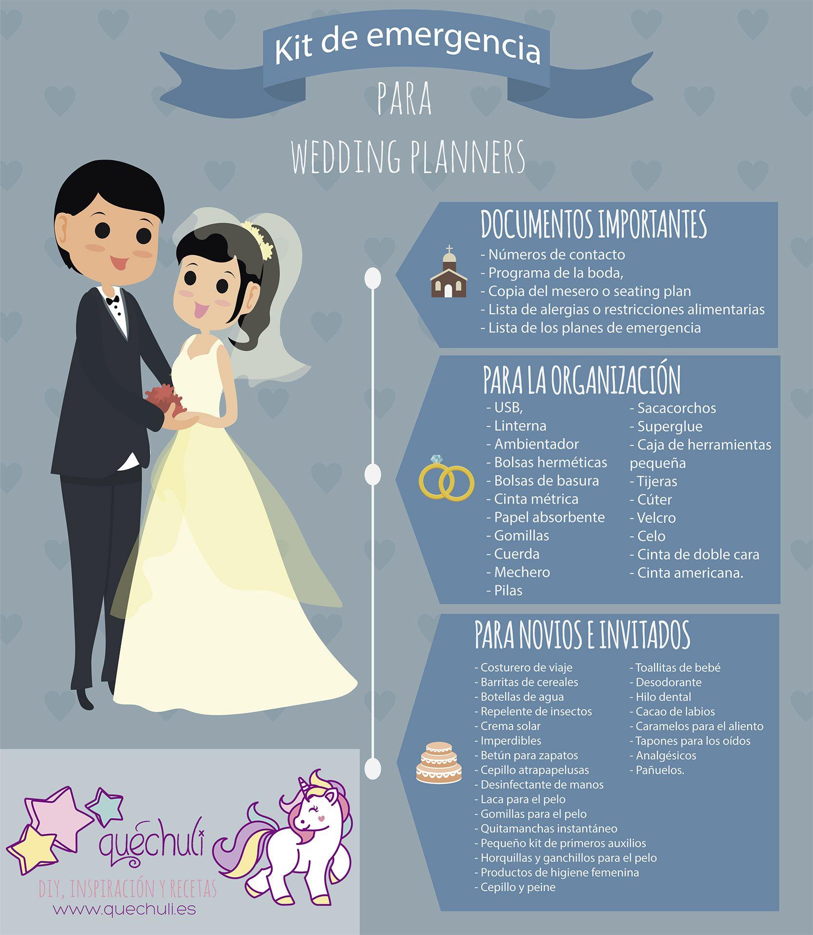 Infografía: kit de emergencia para wedding planners. Todo lo que se ...