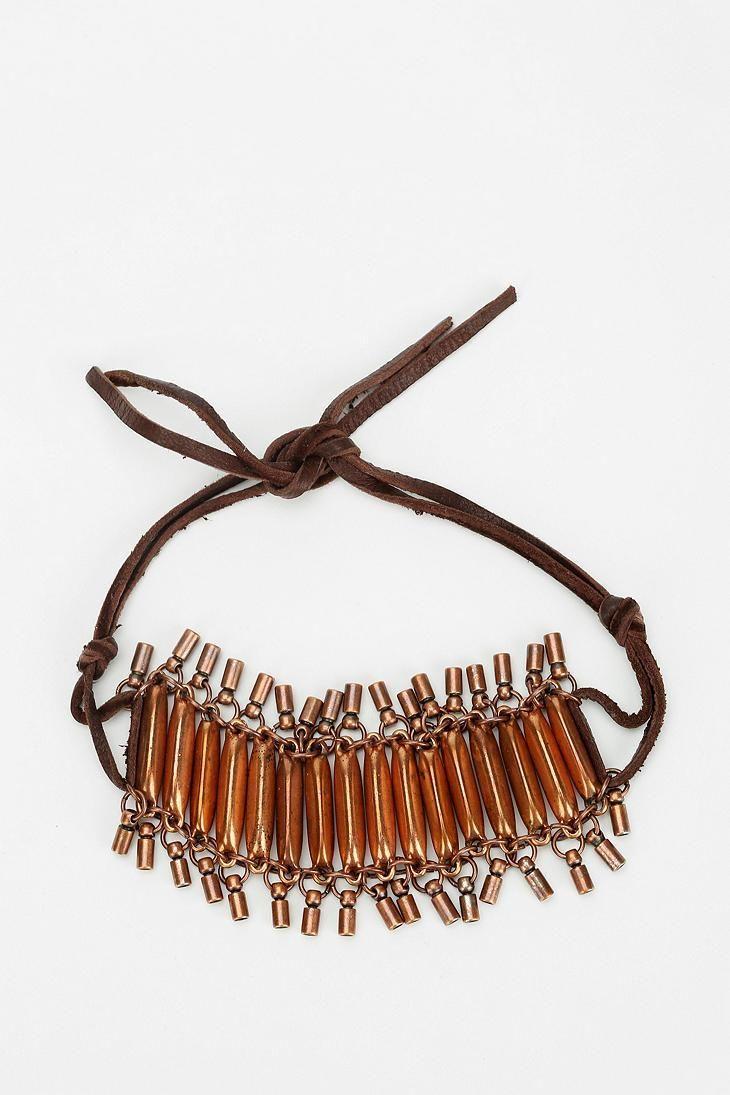 Urban Renewal Copper Leather Bracelet #urbanoutfitters
