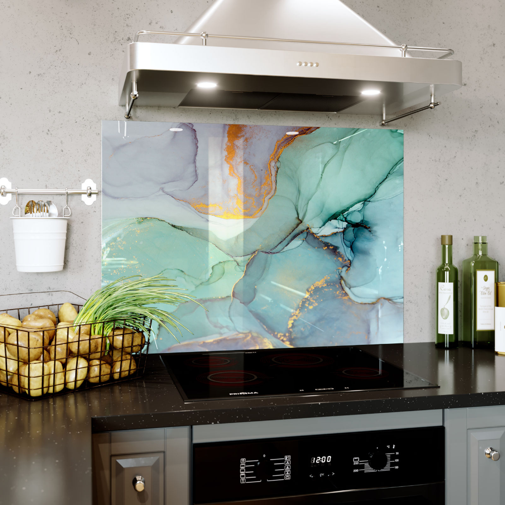 Colourful Liquid Mixed Water Glass Splashback Kitchen & Bathroom ANY SIZE 0434