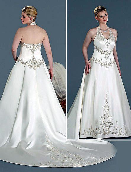 chapel train satin plus size wedding dresses