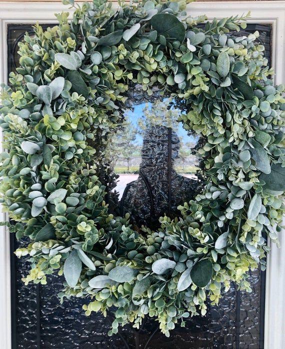 Photo of Wreath in farmhouse style – eucalyptus wreath – year-round wreath – everyday wreath – farmhouse – double door