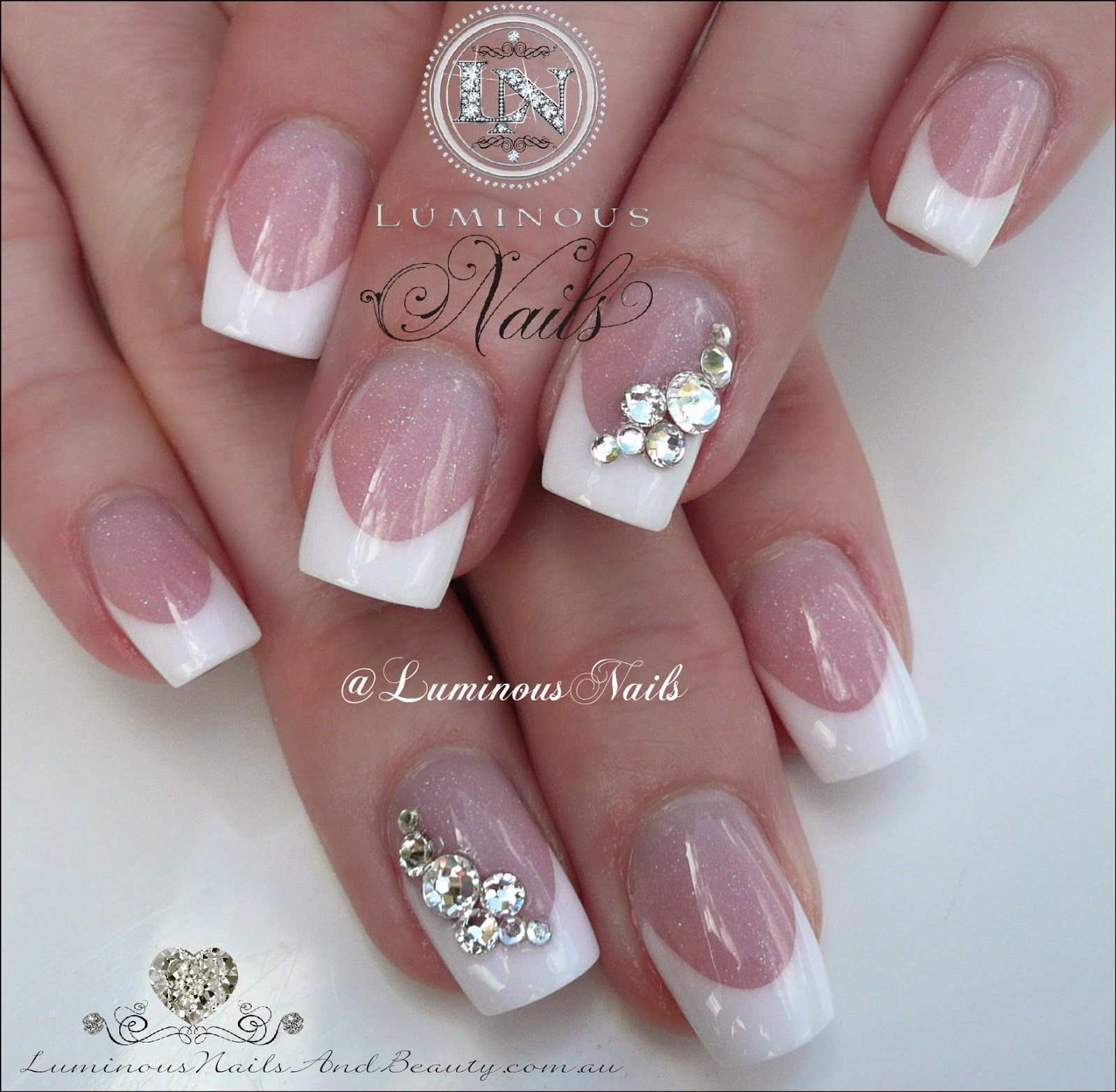 Luminous Nails: Classic French Wedding Nails with Swarovski Crystals ...