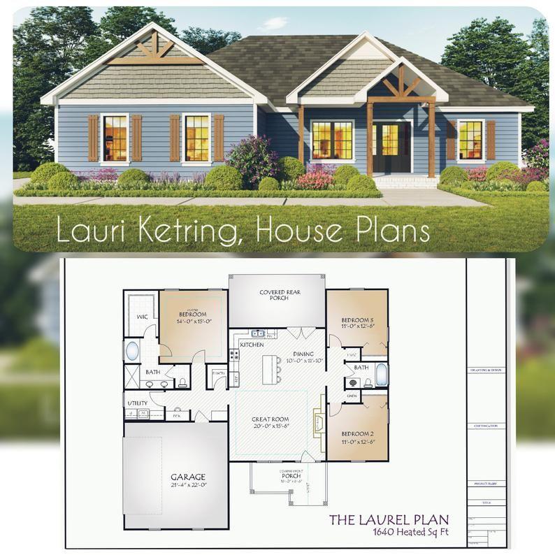 Laurel Plan 1640 Square Feet Etsy in 2020 House plans