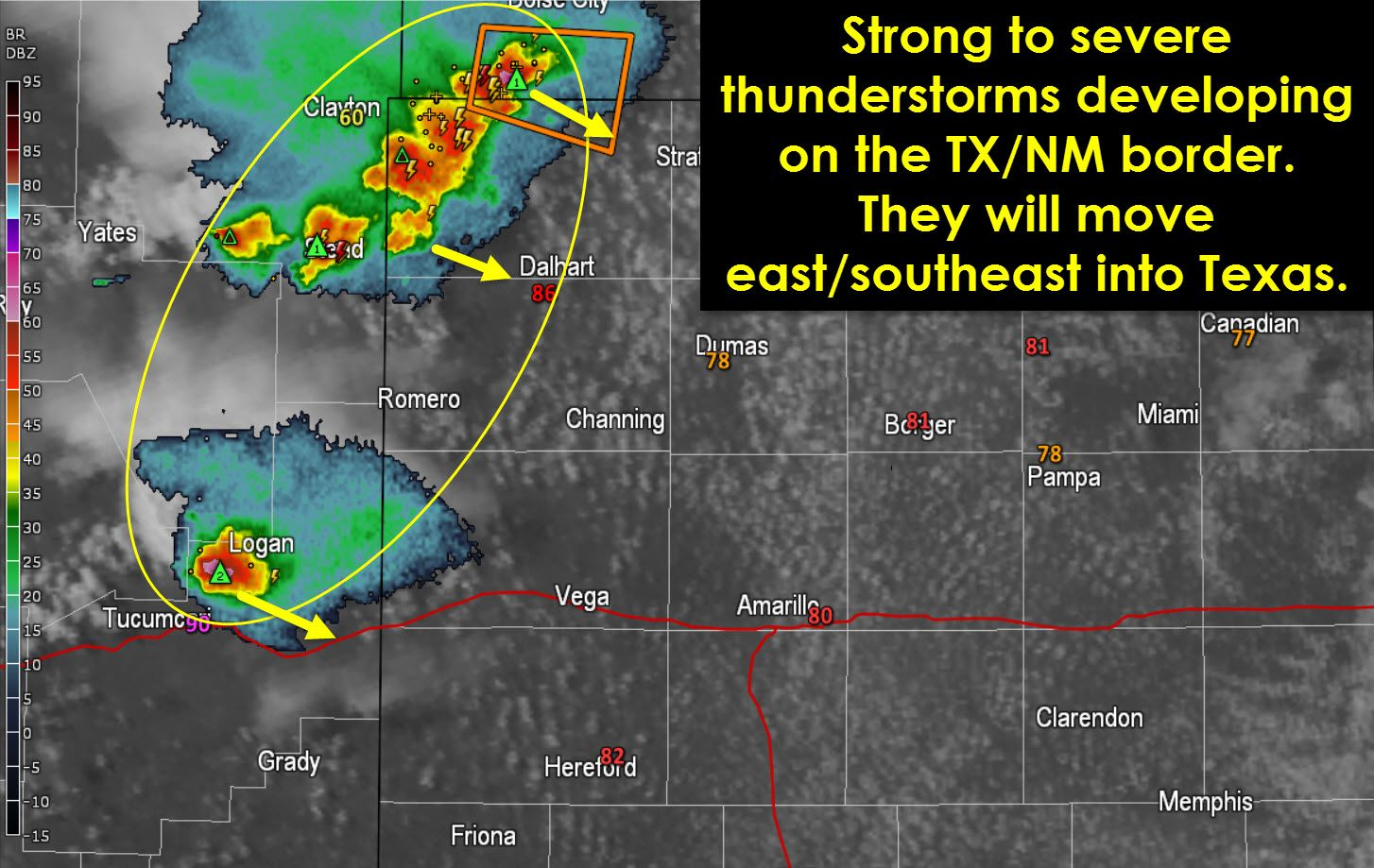 Strong to severe thunderstorms are firing up just after 5 PM on the Texas Panhandle/New Mexico border. These storms will slowly move into Texas with the possibility of damaging winds, hail, and localized flooding. Have a way to receive weather warnings and move to a safe place if a intense storm approaches. Read the whole article at http://texasstormchasers.com/?p=38733 - David Reimer
